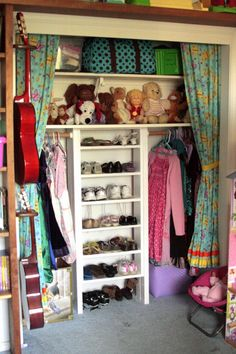 Use a small bookshelf, some 2x4's and a long piece of shelving to make a shelving unit for a child's closet.