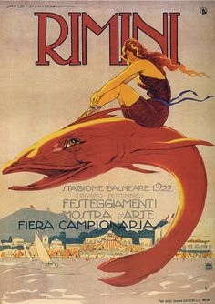 Marcello Dudovitch illustrated 1922 poster for the Italian seaside resort