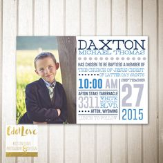 LDS Baptism Invitation Announcement for BOYS  by CdotLove on Etsy