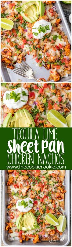 Tequila Lime SHEET PAN Chicken Nachos Recipe via The Cookie Rookie - a great rec. Tequila Lime SHEET PAN Chicken Nachos Recipe via The Cookie Rookie - a great recipe for feeding a crowd with delicious chicken nachos! Supper Recipes, Easy Dinner Recipes, Great Recipes, Easy Meals, Recipe Ideas, Quick Meals For Dinner, Healthy Supper Ideas, Meal Ideas For Dinner, Appetizer Recipes