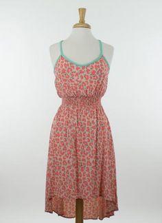High-Lo Coral Print Dress | hazel2blue