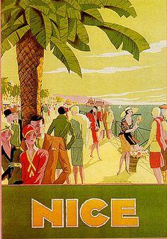 vintage travel poster for Nice France