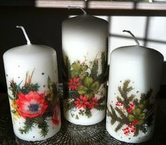 BEAUTIFUL CHRISTMAS CANDLES MADE WITH Decoupage Calambour PAPER PAU 67 BY ANNELIE GUSTAVSSON  BELLISSIME CANDELE DI NATALE DECORATE CON CARTA CALAMBOUR PAU 67 DA ANNELIE GUSTAVSSON  http://annelieskort.blogspot.se/2013/11/tandsticksask-ljus.html