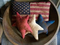 Primitive Flag Pillow and Americana USA Bowl by oldgoatprims, $11.00