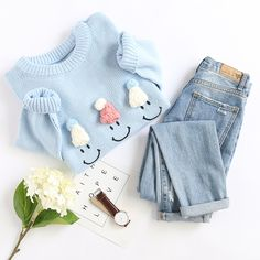 Shop Blue Hat Embellished Drop Shoulder Cute Sweater at ROMWE, discover more fashion styles online. Teenage Outfits, Winter Fashion Outfits, Cute Fashion, Look Fashion, Outfits For Teens, Korean Fashion, Winter Mode Outfits, Summer Outfits Women, Fall Outfits