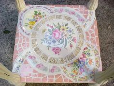 Broken Pottery Mosaic Table | Broken china mosaic side table bottom shelf (pair in progress) by ...
