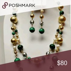 """Natural Vintage Malachite, FWP and Crystals Set , High Quality Golden Textured Gold Plated Round Spacers, Fresh Water Pearls and Vintage Faceted AB Glass Crystals Beads Links Necklace set. 18"""" inches in lenght Handmade Jewelry Necklaces"""