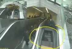 Um acidente surpreendente foi registrado por câmeras de segurança da estação de metrô de Ayazaga, na Turquia, e ganharam grande repercussão na internet. Um homem, que utilizava a escada-rolante em um horário de grande movimento,