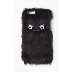 Missguided Angry Face Faux Fur iPhone 6 Case ($15) ❤ liked on Polyvore featuring accessories, tech accessories, black, iphone cases, iphone cover case and apple iphone case