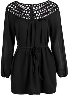 Shop Black Long Sleeve Hollow Chiffon Blouse online. Sheinside offers Black Long Sleeve Hollow Chiffon Blouse & more to fit your fashionable needs. Free Shipping Worldwide!