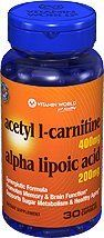 Vitamin World Acetyl L-Carnitine Free Form Alpha Lipoic Acid, 30 Caplets by Vitamin World. $31.99. As we age, our cells are less able to counteract the cell-damaging effects of free radicals and oxidative stress, which can lead to the premature aging of cells. Animal studies indicate that the combination of Alpha Lipoic Acid and Acetyl L-Carnitine helps promote metabolic functioning to fight against free radicals and oxidative stress.** As a supplement ACETYL L-CARNIT...