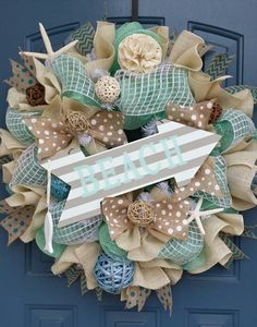 Beach/Summer deco mesh wreath