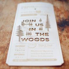 invitation design, paper, wedding invitations, woodsy wedding, woodland wedding, cut outs, wood grain, outdoor weddings, parti
