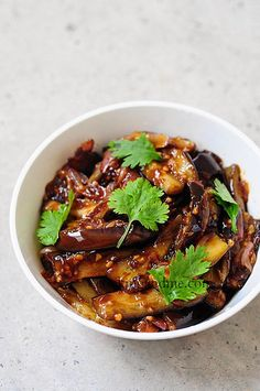 Schezwan Eggplant (haven't made it) Very quick, eggplant with a sticky and spicy glaze on it. I'm curious if this could be made slightly lighter by baking the eggplant rather than frying it in the first step.