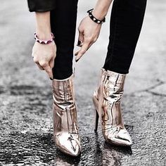 Saturday Night Fever ✨ Who put on the dance shoes? Heeled Boots, Bootie Boots, Shoe Boots, Shoes Heels, Ankle Boots, Gold Shoes, Shoes Sneakers, Cute Shoes, Me Too Shoes