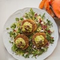 ... Crab Cakes with Avocado Pea Puree over Frisee and Endive Salad More
