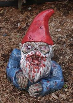 Zombie gnome to welcome people into my home.