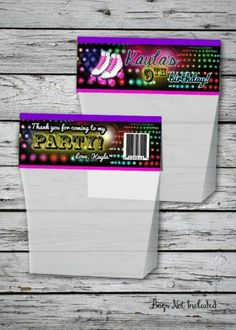 Roller Skating Bag Topper Glow Birthday Party Favor Label File Skates Hang Tag | eBay Glow Party, I Party, Party Time, Party Ideas, Neon Birthday, 13th Birthday, Birthday Parties, Birthday Ideas, Printable Birthday Invitations