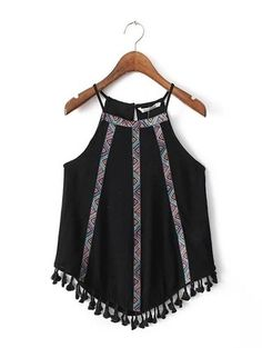 SheIn offers Black Fringed Hem Embroidery Spaghetti Strap Tank Top & more to fit your fashionable needs. Boho Fashion, Fashion Outfits, Womens Fashion, Fashion Trends, Street Fashion, Trendy Fashion, Bohemian Mode, Boho Chic, Summer Outfits