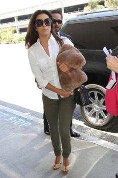 Eva Longoria wearing Salvatore Ferragamo SF659S Sunglasses Chanel Classic Flap Bag Eva Longoria LAX airport June 18 2013