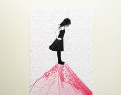 View from a pink mountain - 5 x 7 illustration print. $10.00, via Etsy.