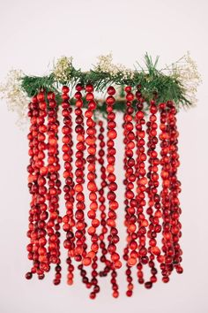 Fresh Cranberry Chandelier - Loving this DIY fresh cranberry chandelier for the holidays. Find out how to make it and win $4000 in prizes @bf4frosting  #FriendsgivingCranberryContest #ad