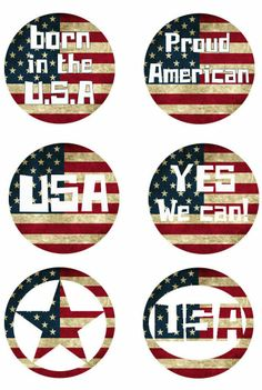 "USA Patriotic 1"" digital bottle cap images"