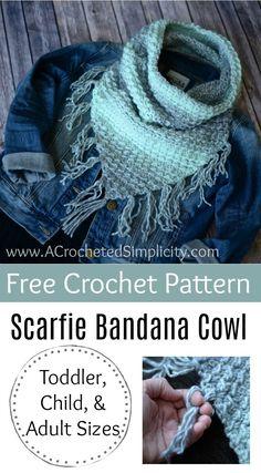 Free Crochet Pattern - Scarfie Bandana Cowl by A Crocheted Simplicity