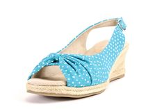 Easy Street Turquoise With Dots Keenii Wedge Sandals
