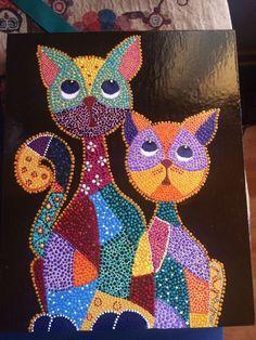 Mis trabajos puntillismo. Mandala Art, Mandala Painting, Dot Art Painting, Cat Quilt, Button Art, Aboriginal Art, Pebble Art, Mosaic Art, Bead Art