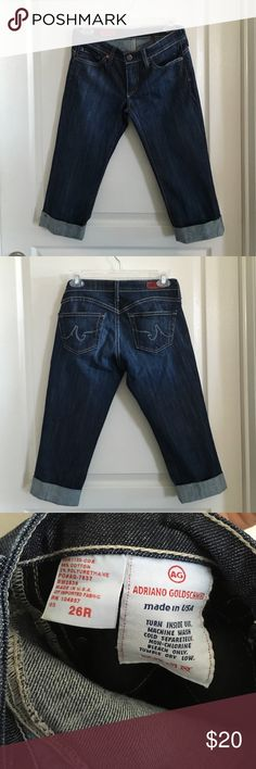 """AG Cropped Jeans Size 26 Denim capris with roll up cuff. Style is called """"The Liberty"""". Inseam is 17"""". Only worn a few times, so still in good condition. No trades or Paypal. AG Adriano Goldschmied Jeans Ankle & Cropped"""