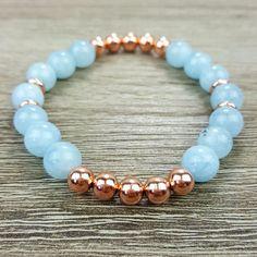 Aquamarine & Rose Gold bracelet