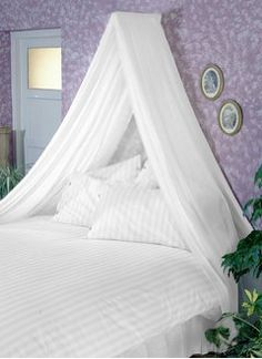 WHITE BED CANOPY SET Soft Sheer White VOILE & Rod Fixing Kit COMPLETE EASY FIX