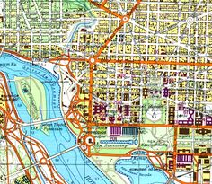 Soviet Cold War era map of Washington, DC,  lettered in Russian (Cyrillic writing) ... detail of White House area, USA ... courtesy of Elliot Carter and John Davies