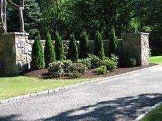 Riverstone Driveway pictures+of+driveway+entrances Front Gates, Front Yard Fence, Entrance Gates, Farm Entrance, Driveway Entrance, Driveway Ideas, Entrance Ideas, Fence Ideas, Driveway Design