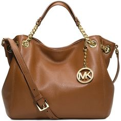 MICHAEL MICHAEL KORS Jet Set medium leather shoulder bag (580 BAM) ❤ liked on Polyvore featuring bags, handbags, shoulder bags, purses, michael kors, borse, luggage, leather handbags, shoulder strap bag and brown leather purse