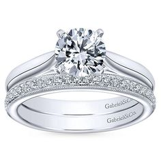 Leah 14k White Gold Round Solitaire Engagement Ring angle 4