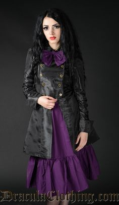 Affordable goth, victorian and steampunk clothing and corsets Military Style Coats, Military Dresses, Purple Skirt, Steampunk Wedding, Pants For Women, Clothes For Women, Steampunk Clothing, Military Fashion, Alternative Fashion