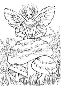 Fairy Sitting on a Toadstool by Mitzi Sato-Wiuff * Coloring pages colouring adult detailed advanced printable Kleuren voor volwassenen coloriage pour adulte anti-stress kleurplaat voor volwassenen Line Art Black and White