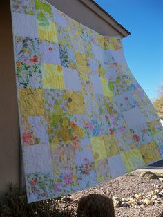 yellow and white vintage sheets quilt