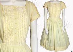 Vintage 50s Dress 1950s Dress Yellow Dress by KayDoveVintage