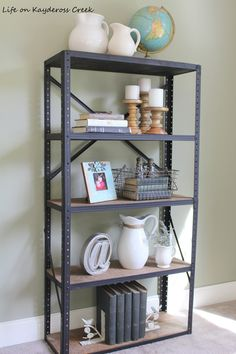 How to create an industrial book shelf from an old metal shelving unit and some pine boards. A little paint and stain goes a long way!