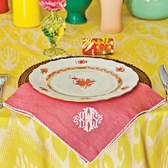 Bridal Luncheon Ideas: Showered in Color   Yellow Table Setting   SouthernLiving.com