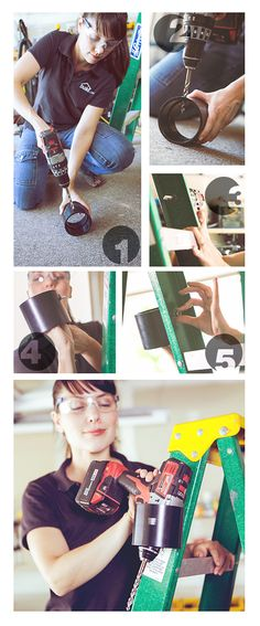 DRILL HOLDER - Easy to Make Drill Holder for your Ladder.  Stay Safe While you Build.