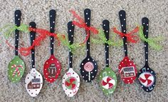 Handpainted Christmas spoon ornaments