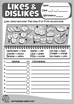 Expressing likes & dislikes worksheet Hello Kids 2 eslchallenge.weeb - Weebly W. Primary English, Kids English, English Study, English Lessons, Learn English, English Teaching Resources, English Activities, Vocabulary Activities, Grammar For Kids