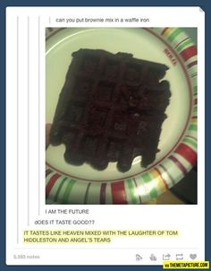 Funny pictures about Brownie mix in a waffle iron. Oh, and cool pics about Brownie mix in a waffle iron. Also, Brownie mix in a waffle iron. Tumblr Funny, Funny Memes, Stupid Memes, Funny Quotes, Haha, Fangirl, A Silent Voice, 1 Gif, My Sun And Stars