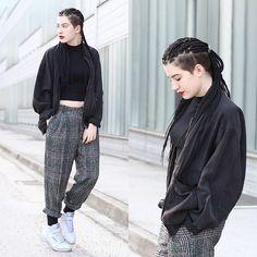 Kaj Lydia - Vintage Trousers, Reebok White Classics, New Look Black Crop Top - Daddy's Darling