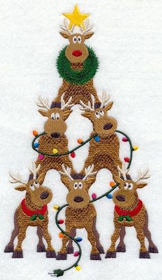 Reindeer Christmas Tree design (A9873) from www.Emblibrary.com