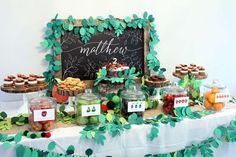 Amazing dessert table at a  Very Hungry Caterpillar birthday party! See more party ideas at CatchMyParty.com!